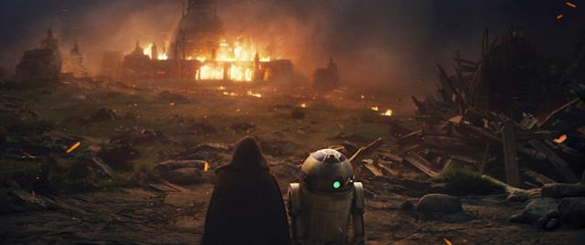 Luke Skywalker watches as his new Jedi Temple burns, torched by his nephew and former pupil, Ben Solo/Kylo Ren. (Photo: Lucasfilm)