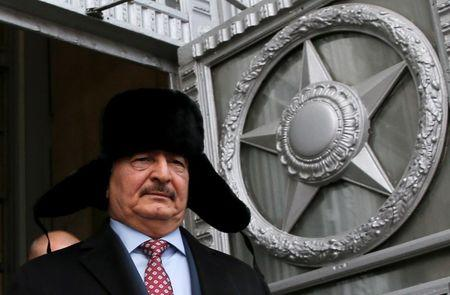 FILE PHOTO: General Khalifa Haftar, commander in the Libyan National Army (LNA), leaves after a meeting with Russian Foreign Minister Sergei Lavrov in Moscow, Russia