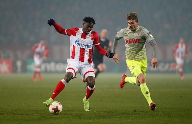 Soccer Football - Europa League - Red Star Belgrade vs FC Cologne - Rajko Mitic Stadium, Belgrade, Serbia - December 7, 2017 Red Star Belgrade's Richmond Boakye in action with Cologne's Jannes Horn REUTERS/Novak Djurovic