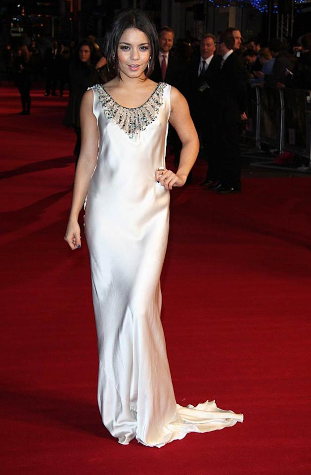 "Vanessa Hudgens was the epitome of elegance as she glided down the red carpet at the U.K. premiere of ""Sucker Punch"" in a white silk Alberta Ferretti frock, which featured emerald green beading around the neckline. The 22-year-old has certainly matured since her stint in the ""High School Musical"" movies! Simon James/<a href=""http://www.wireimage.com"" target=""new"">WireImage.com</a> - March 30, 2011"