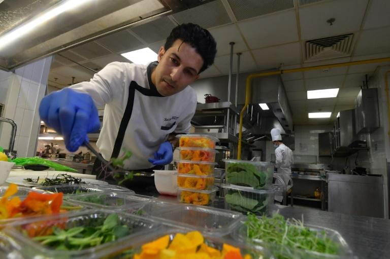 """Tunisian chef Bassem Bizid, who uses nasturtiums for his fish tartar and accompanies other dishes with a flower-leaf salad or a sorbet garnished with fresh violets, says clients are """"very satisfied to discover something new"""""""