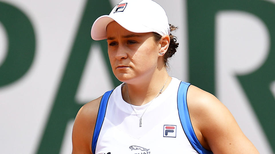 Ash Barty, pictured here in action at the French Open.
