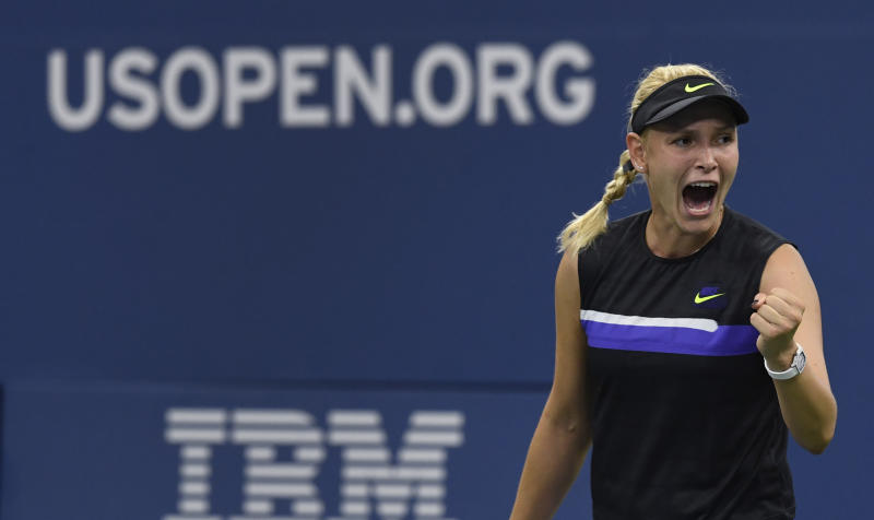 Donna Vekic, of Croatia, reacts after winning a points against Julia Goerges, of Germany, during the fourth round of the US Open tennis championships Monday, Sept. 2, 2019, in New York. (AP Photo/Sarah Stier)
