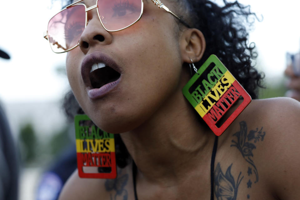 Lydia Robinson, 31, of Raleigh, N.C., speaks as demonstrators protest the death of George Floyd, June 3, 2020, at the U.S. Capitol in Washington. (AP Photo/Jacquelyn Martin)