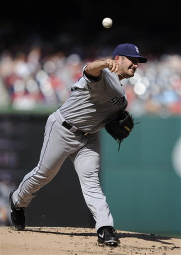 San Diego Padres starting pitcher Jason Marquis delivers against the Washington Nationals during the first inning of a baseball game on Saturday, July 6, 2013, in Washington. (AP Photo/Nick Wass)