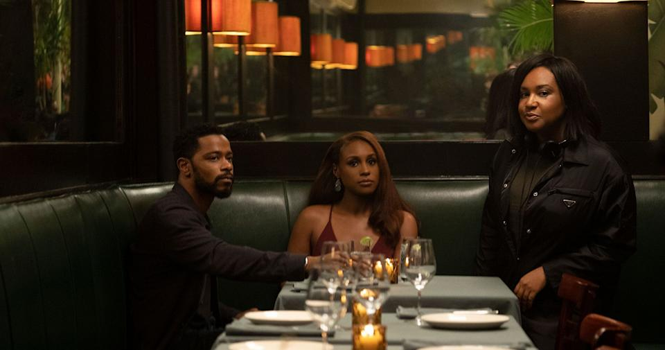 """Director Stella Meghie with """"The Photograph"""" actors Issa Rae and LaKeith Stanfield. (Photo: NBC Universal)"""
