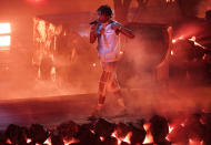 "Lil Baby performs ""Emotionally Scarred"" at the American Music Awards on Sunday, Nov. 22, 2020, at the Microsoft Theater in Los Angeles. (AP Photo/Chris Pizzello)"