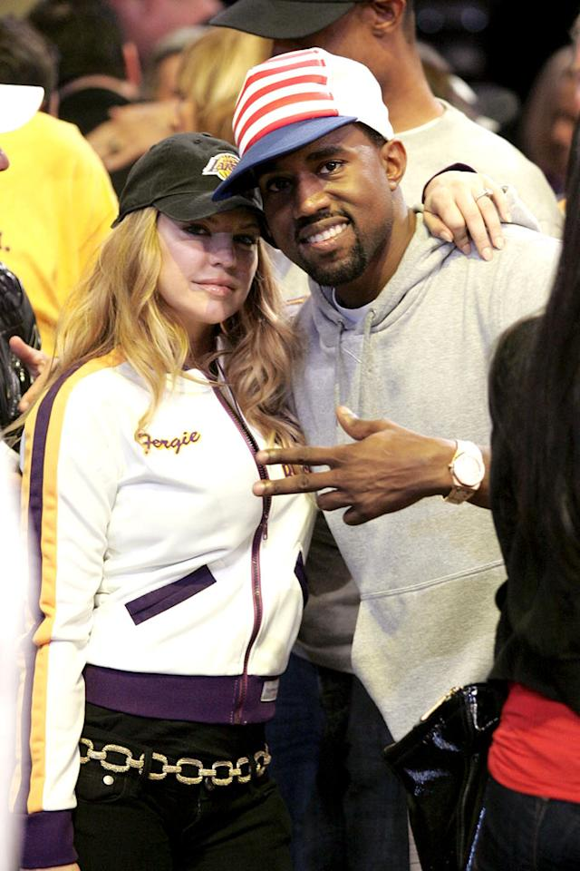 """Fergie and Kanye pose for a cute picture once the Lakers lock up the win, 87-81. Noel Vasquez/<a href=""""http://www.gettyimages.com/"""" target=""""new"""">GettyImages.com</a> - June 10, 2008"""