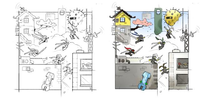"<p>Storyboard panels show the characters in action. ""I found the most fun aspect of this model was how easy the size allowed me to visualize the characters' movements and interactions around the city,"" says Stamp. (Credit: Lego) </p>"