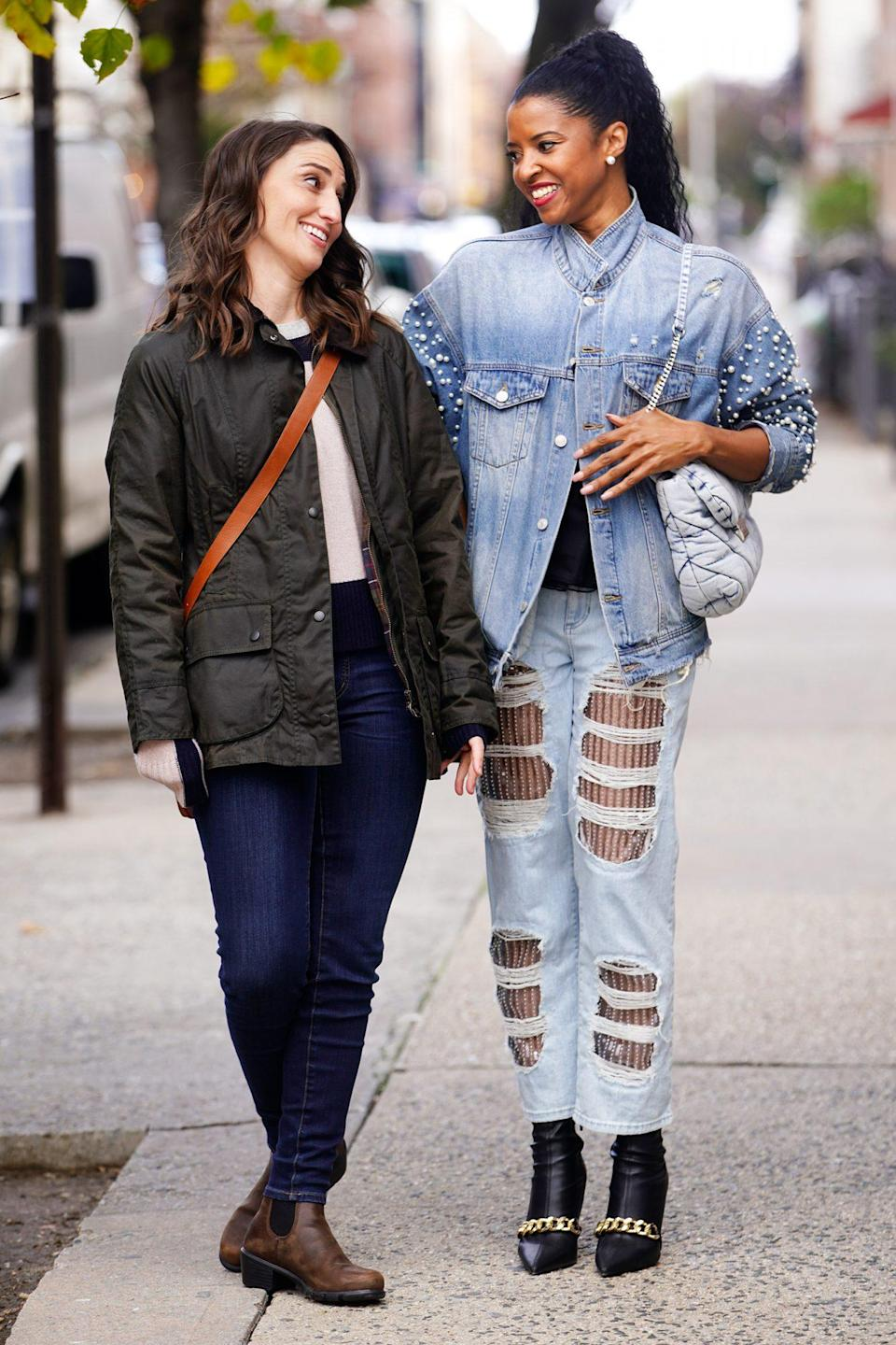 <p>Costars Sara Bareilles and Renée Elise Goldsberry are seen filming comedy series <em>Girls5Eva</em> in N.Y.C. on Tuesday.</p>