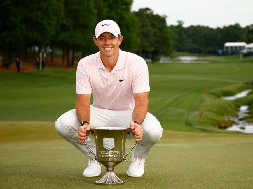 Rory McIlroy poses with the trophy at the Wells Fargo Championship (Getty Images)