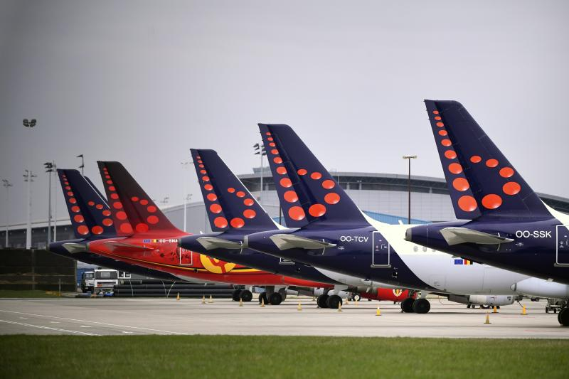 Brussels Airlines planes grounded in Zaventem, Belgium. (Vincent Kalut/Photonews via Getty)