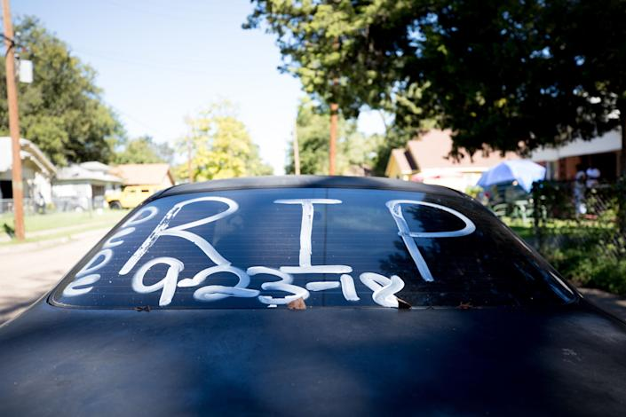 The date Delashon died was written on shoe polish on the back of her mother's car. (Photo: Allison V. Smith for HuffPost)