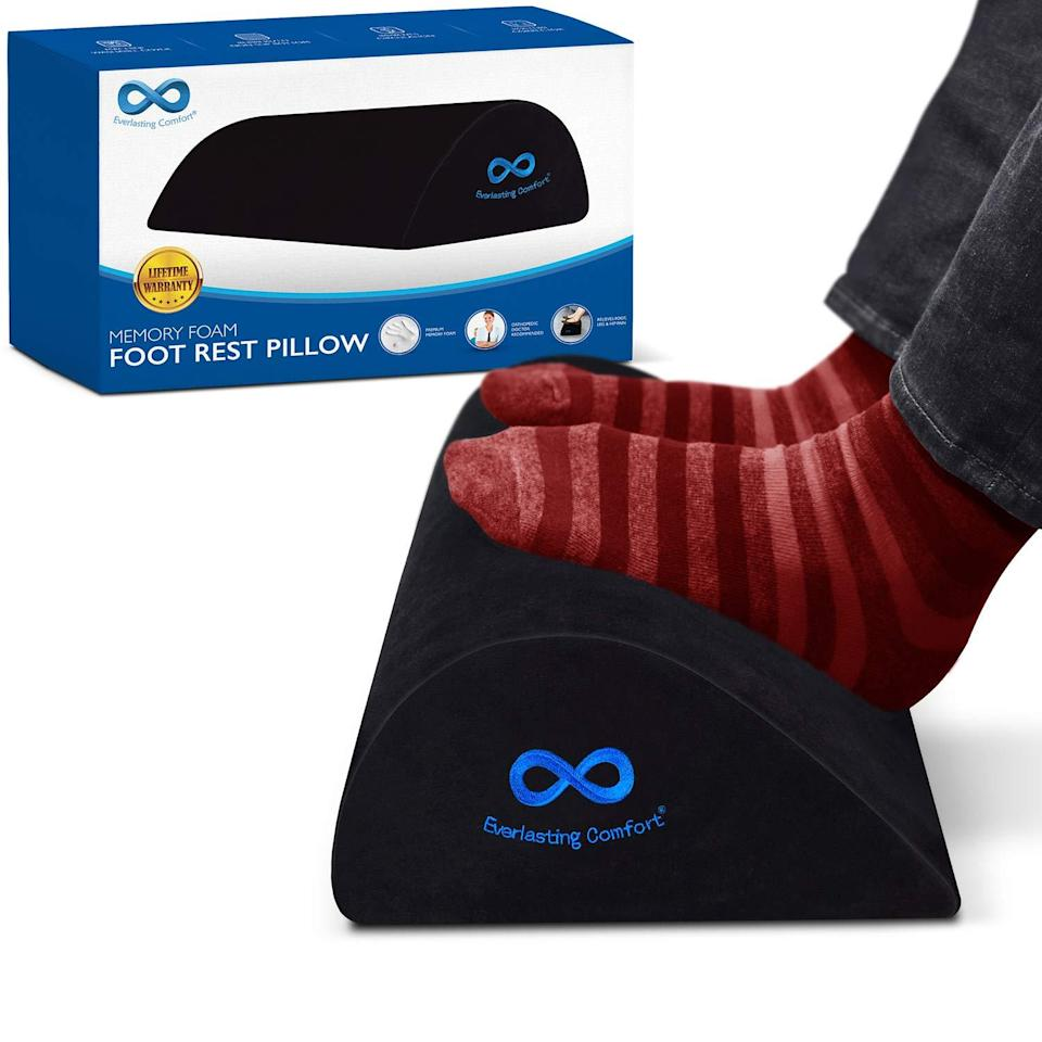 "<h2>Footrest</h2> <br><strong>Will Support: Legs & Back</strong><br>Crafted from memory-foam materials in an orthopedic-grade teardrop design, this under-desk foot cushion is built to mold to your feet for support that spreads up through the legs, hips, and back. <br><br><strong>Supported Say: </strong>""I sit at my desk for about 6 hours of my day and this helps me so much. It helps to relieve leg and back pain. I like to sit with this and stand during my day. All of these efforts help with my efforts to stay healthy. Great deal and purchase!!"" <em>– luvjen4jen, <a href=""https://www.amazon.com/Everlasting-Comfort-Orthopedic-Teardrop-Non-Slip/dp/B07PGLBCFG/ref=sr_1_5?dchild=1&keywords=foot+rest&qid=1589463808&sr=8-5#customerReviews"" rel=""nofollow noopener"" target=""_blank"" data-ylk=""slk:Amazon"" class=""link rapid-noclick-resp"">Amazon</a> Reviewer</em><br><br><strong>Everlasting Comfort</strong> Under-Desk Memory Foam Footrest, $, available at <a href=""https://amzn.to/2ITABVx"" rel=""nofollow noopener"" target=""_blank"" data-ylk=""slk:Amazon"" class=""link rapid-noclick-resp"">Amazon</a><br><br><br><br>"