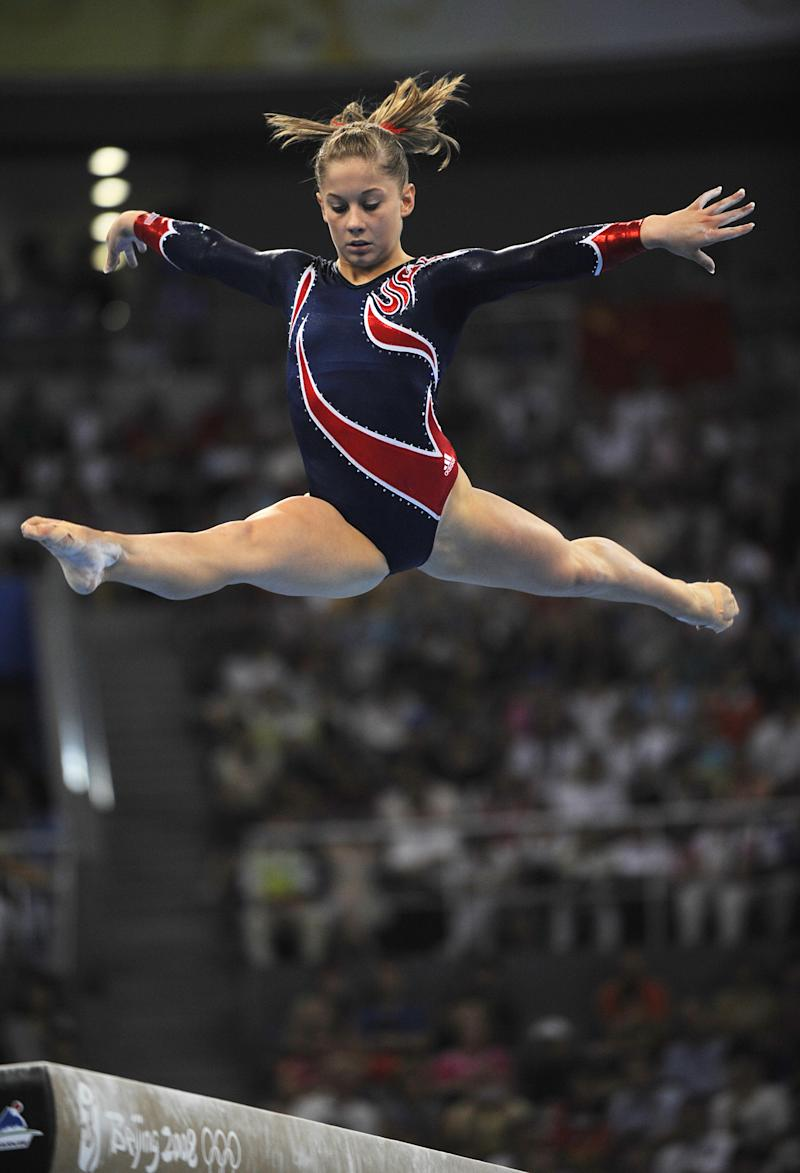 Shawn Johnson competing on the balance beam during the 2008 Olympic Games in Beijing. (AFP-Getty Images)