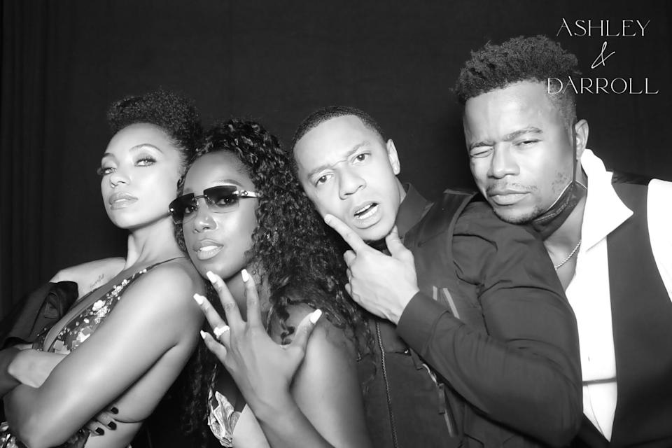 We love a good photo booth moment! My <em>Dear White People</em> Family. We've been together for years—it was only right to have them present at my wedding. So grateful for their love, support, and friendship. (Logan Browning, me, DeRon Horton, and Marque Richardson.)