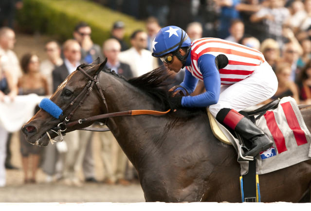 In this image provided by Benoit Photo, Fed Biz, with Martin Garcia aboard, wins the Grade II, $200,000 San Diego Handicap horse race on Saturday, July 26, 2014, at Del Mar Thoroughbred Club in Del Mar, Calif. (AP Photo/Benoit Photo)