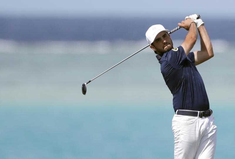 Abraham Ancer of Mexico hits from the 16th tee during the third round of the Saudi International at Royal Greens Golf and Country Club, Saturday, Feb. 1, 2020, in Red Sea resort of King Abdullah Economic City, Saudi Arabia. (AP Photo/Amr Nabil)