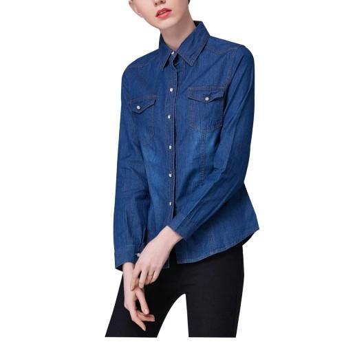 Yeokou Women's Classic Long Sleeve Button Down Denim Chambray Jean Shirt. (Photo: Amazon)