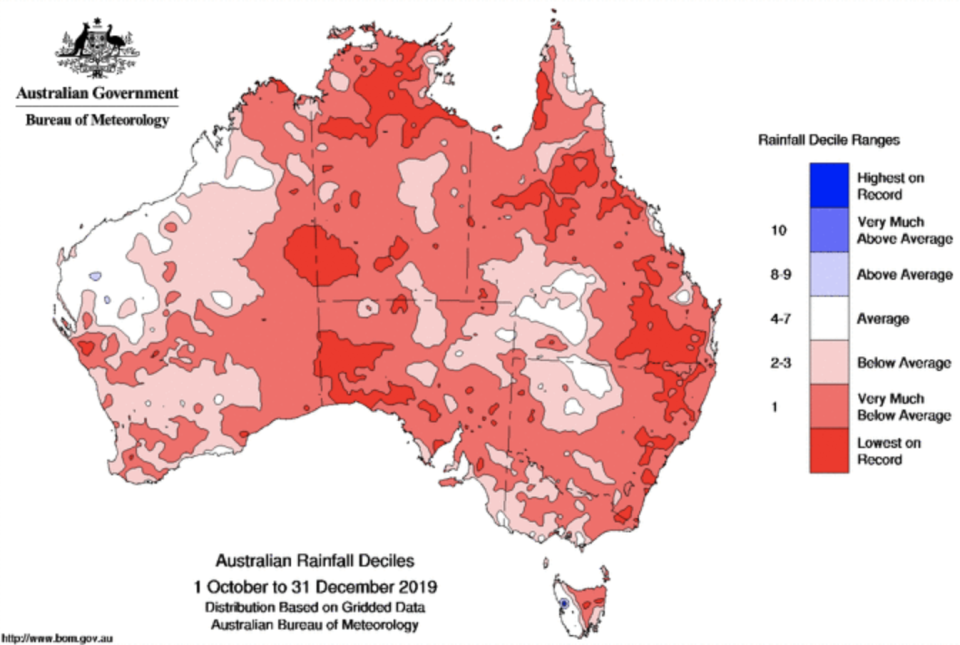 A map Australia is covered in red showing the lack of rainfall across the country.