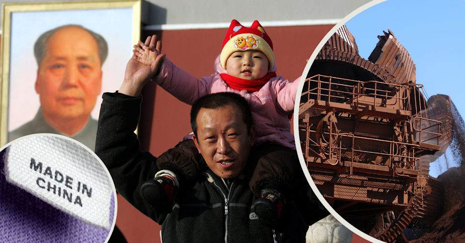 Made in China label on clothing. A man holds a child on his shoulders near a portrait of Mao Zedong. Australian iron ore being mined.
