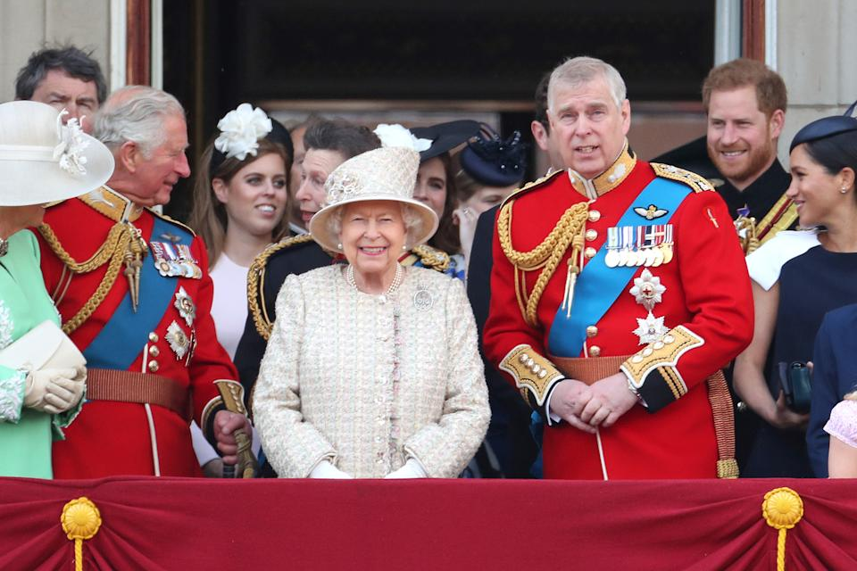 Prince Harry with Prince Andrew and a number of other Royal Family members at Trooping the Colour in June 2019 [Photo: Getty]