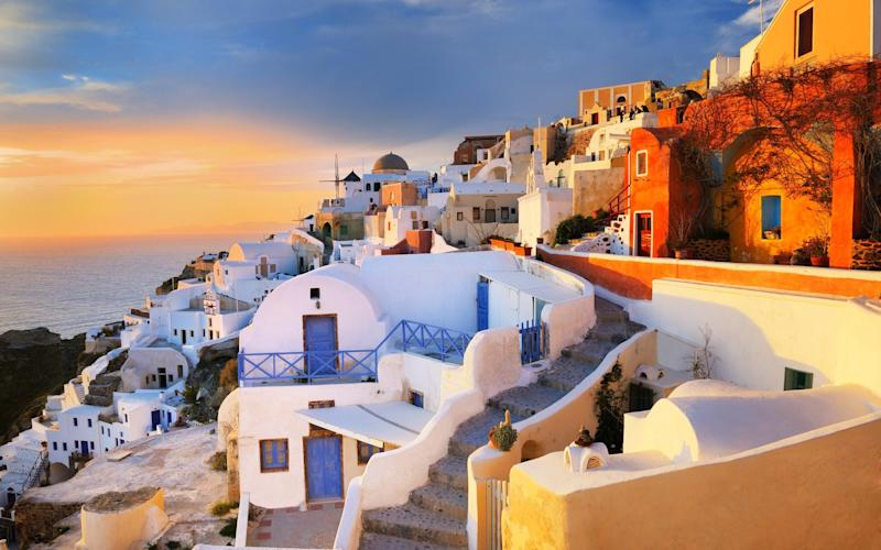 The island of Santorini in the Cyclades - Getty