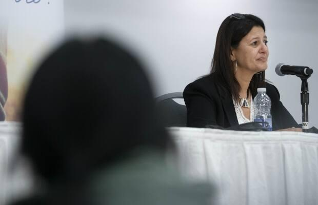 Coroner Géhane Kamel held back tears at one point as she explained her findings on the death of Joyce Echaquan during a news conference in Trois-Rivières, Que., on Tuesday. She concluded the Atikamekw woman would be alive today if she were white.  (Ivanoh Demers/Radio-Canada - image credit)