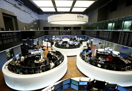 Traders work at Frankfurt's stock exchange in Frankfurt