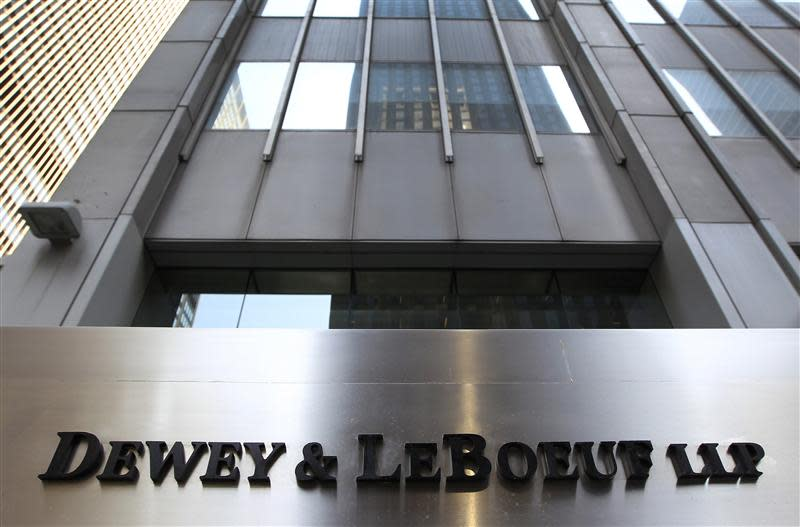 A sign marking the Dewey & LeBoeuf LLP headquarters on 6th avenue is seen in New York