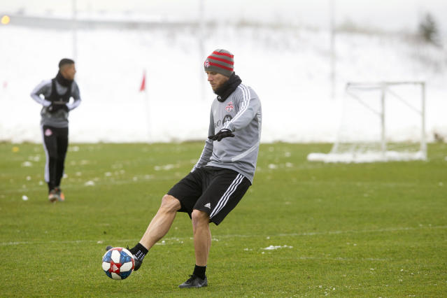 Toronto FC Major League Soccer captain Michael Bradley warms up during a training session in Toronto, Thursday, Nov. 7, 2019. Toronto plays against Seattle in the MLS Cup Final on Sunday. (Chris Young/The Canadian Press via AP)