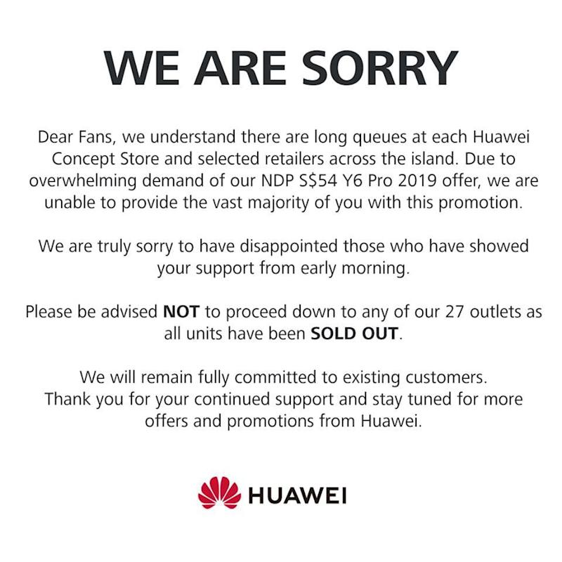 Huawei's official statement on the Y6 2019 promo. (PHOTO: Huawei)