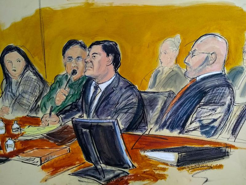 "In this courtroom sketch, Joaquin ""El Chapo"" Guzman, center, and his attorney Eduardo Balazero, right, listen as a prosecutor delivers closing arguments during his trial, Wednesday, Jan. 30, 2019, in Brooklyn, NY."