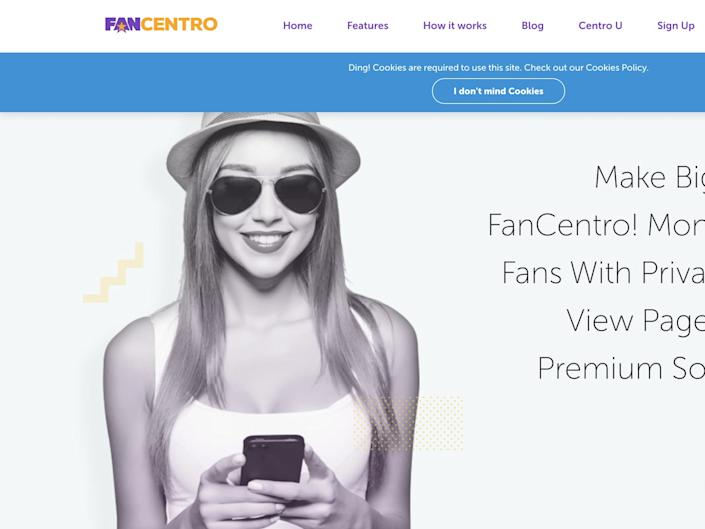"""FanCentro allows models and influencers to monetize their fan base through premium, private social media accounts <p class=""""copyright"""">Screen grab</p>"""