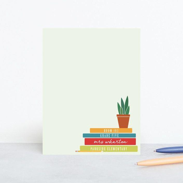 """<p><strong>Minted</strong></p><p>minted.com</p><p><strong>$35.00</strong></p><p><a href=""""https://go.redirectingat.com?id=74968X1596630&url=https%3A%2F%2Fwww.minted.com%2Fproduct%2Fmothers-day-gifts-stationery%2FMIN-ZU7-PST%2Fa-note-from-teacher&sref=https%3A%2F%2Fwww.goodhousekeeping.com%2Fholidays%2Fgift-ideas%2Fg1432%2Fteacher-gifts%2F"""" rel=""""nofollow noopener"""" target=""""_blank"""" data-ylk=""""slk:Shop Now"""" class=""""link rapid-noclick-resp"""">Shop Now</a></p><p>This personalized stationery pairs fun lettering with a cute illustration, so it'll actually feel nice to get a note home from the teacher ... maybe.</p>"""