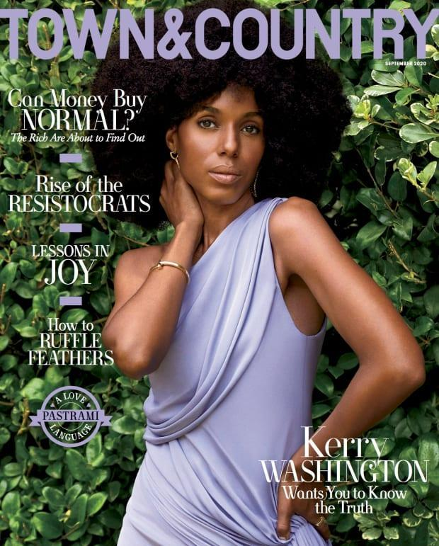 "Kerry Washington in Cushnie on the September cover of ""Town & Country."""