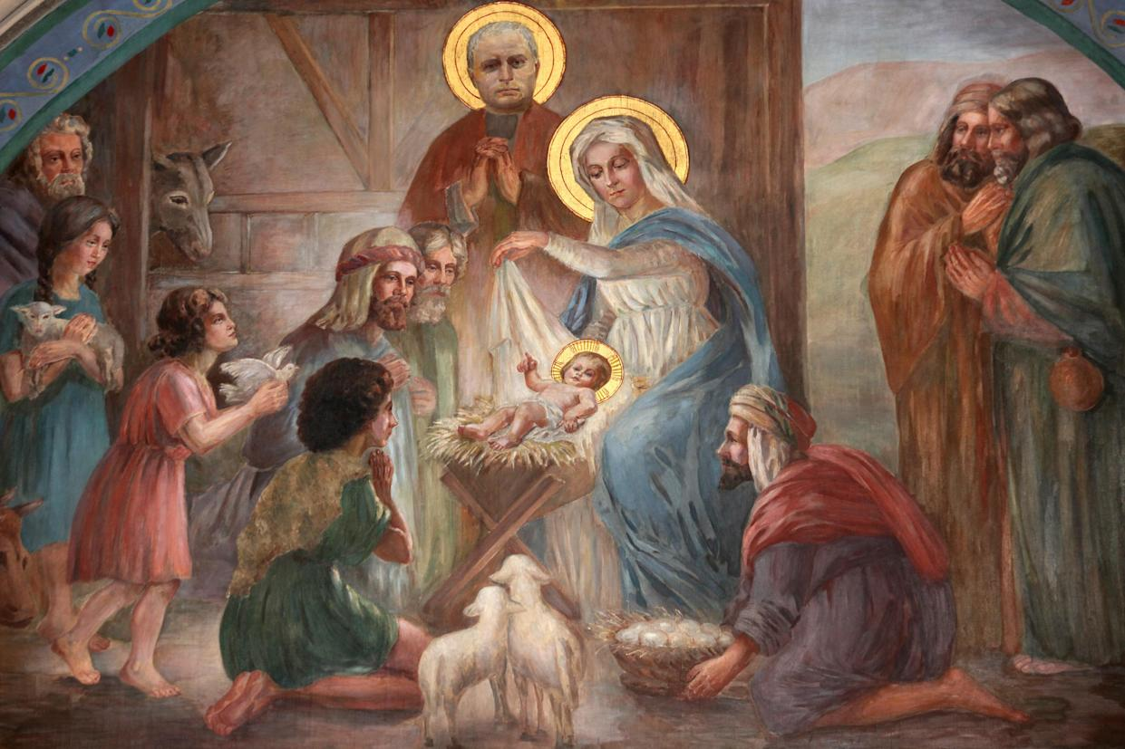 The nativity scene is a common exhibition celebrating the birth of Jesus Christ outside churches and on private property, but their inclusion on public land has generated controversy. The nativity scene fresco seen here is in the Church of Saint Joseph des Nations in Paris. (Photo: Getty)