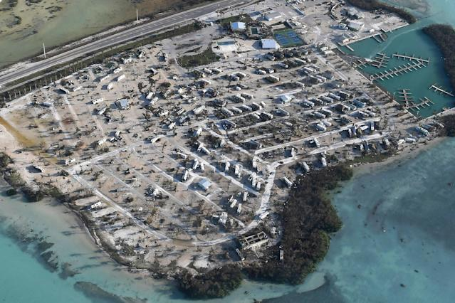<p>Overturned trailer homes are seen in the aftermath of Hurricane Irma on Sept. 11, 2017 over the Florida Keys, Fla. (Photo: Matt McClain/Getty Images) </p>