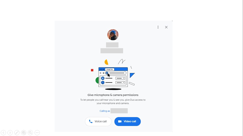 Calling using Google Duo on the web