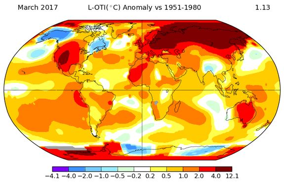Global average temperature departures from average in March 2017.