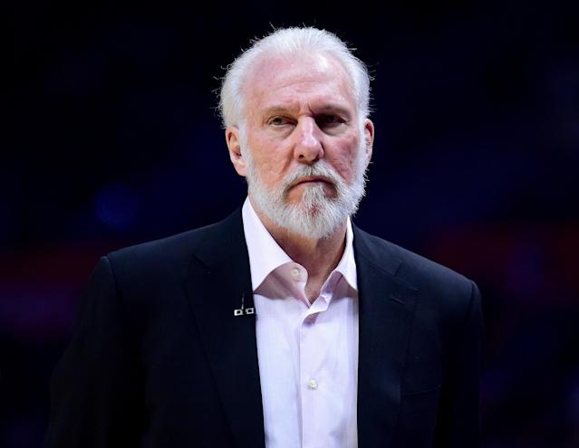 "Gregg Popovich is not slowing down his criticism of Donald Trump and on Tuesday accused the President of manipulating media to ""bring out the dark side of humans.""(Getty)"