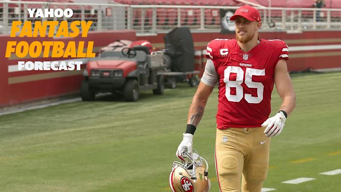 """Will <a class=""""link rapid-noclick-resp"""" href=""""/nfl/players/30259/"""" data-ylk=""""slk:George Kittle"""">George Kittle</a> suit up for week 2?"""