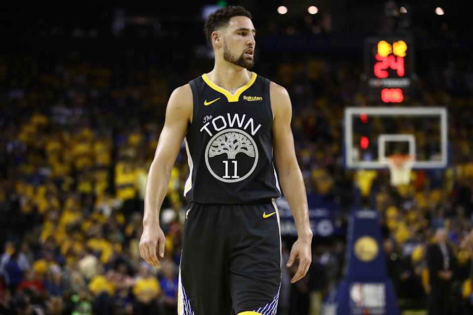 Klay Thompson during a Golden State Warriors game.