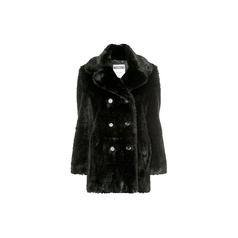 This double-breasted black faux fur coat from Moschino is classic in shape, and will be a closet staple until spring. Buy now: Moschino coat, $1,397, farfetch.com.