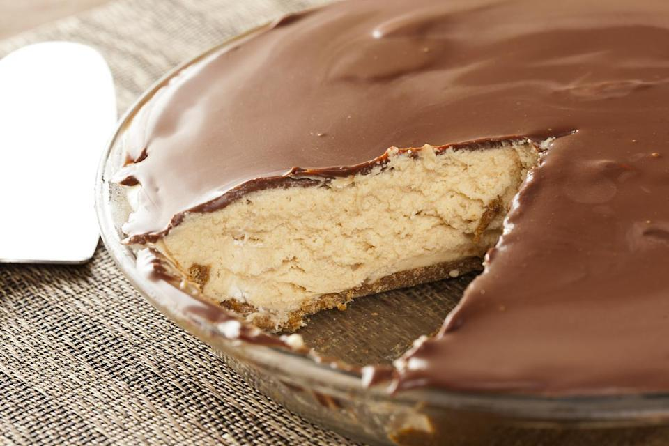 "<p>It's no secret that Ohio's most iconic pie is inspired by buckeyes — its nickname is the Buckeye State. The <a href=""https://www.thedailymeal.com/cook/dishes-only-found-midwest?referrer=yahoo&category=beauty_food&include_utm=1&utm_medium=referral&utm_source=yahoo&utm_campaign=feed"" rel=""nofollow noopener"" target=""_blank"" data-ylk=""slk:iconic Midwestern dessert"" class=""link rapid-noclick-resp"">iconic Midwestern dessert</a> consists of peanut butter balls dipped in chocolate and is meant to look like a nut from the buckeye tree. The candy can be translated to buckeye pie, which sandwiches peanut butter filling between crust and a topping of chocolate ganache.</p>"