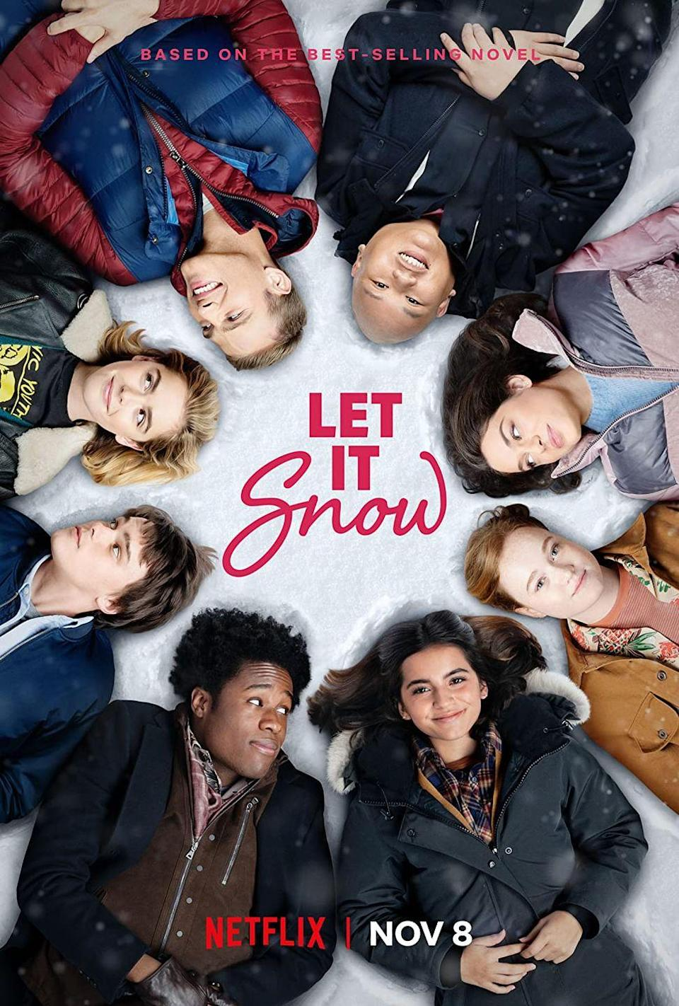 """<p>Multiple storylines of teens dealing with relationships, friends, and friends who maybe want to be more than friends come together during one fateful Christmas Eve snowstorm in <em>Let It Snow</em>. (Think <em>Love Actually</em> but with more waffles and more Kiernan Shipka.)</p><p>It's based on the novel comprised of three short stories that intersect by YA masters John Green, Maureen Johnson, and Lauren Myracle, so you can expect some seriously heartwarming and funny moments. After its 2020 release, <em>Let It Snow</em> took Twitter by storm with viewers praising its sweetest scenes, as well as its positive representation of LGBTQ+ relationships and family dynamics.</p><p><a class=""""link rapid-noclick-resp"""" href=""""https://www.netflix.com/title/80201542"""" rel=""""nofollow noopener"""" target=""""_blank"""" data-ylk=""""slk:Watch Now"""">Watch Now</a></p>"""