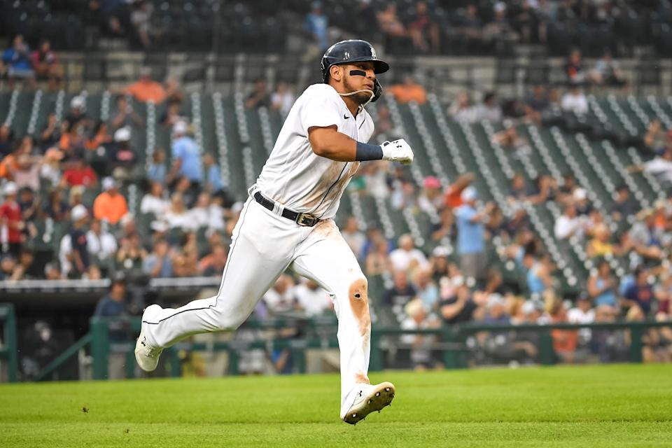 Tigers third baseman Isaac Paredes doubles on a sharp ground ball during the bottom of the fifth inning against the Rangers at Comerica Park on Monday, July 19, 2021.