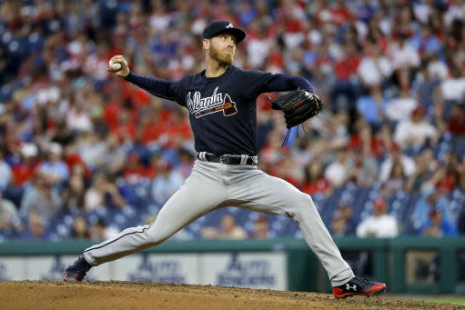 Atlanta Braves' Mike Foltynewicz pitches during the third inning of a baseball game against the Philadelphia Phillies, Monday, May 21, 2018, in Philadelphia. (AP Photo/Matt Slocum)