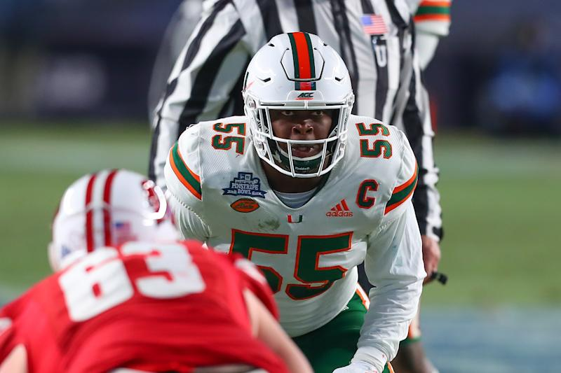 Miami Hurricanes linebacker Shaquille Quarterman can kick-start his NFL draft stock vs. Miami in the opener. (Getty Images)