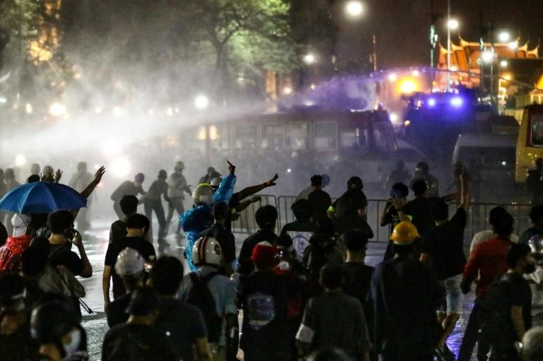 Thai Premier Prayut Chan-O-Cha urged calm after police used water canon against pro-democracy protesters